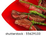 meat and spice on red with... | Shutterstock . vector #55629133