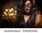 vogue style close up portrait...   Shutterstock . vector #556292461