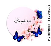 Stock vector round banner with blue butterflies and delicate pink flowers of sakura 556305271