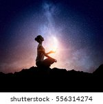 yoga as physical and spiritual... | Shutterstock . vector #556314274