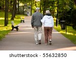 senior couple strolling down a... | Shutterstock . vector #55632850