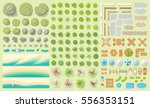 set of park elements.  top view ... | Shutterstock .eps vector #556353151