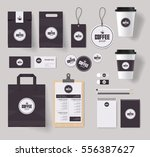 Stock vector corporate branding identity mock up template for coffee shop and restaurant with card menu 556387627