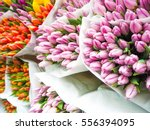 Tulip Flowers Covered With...