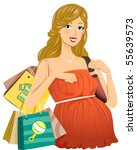 pregnant girl shopping for baby ... | Shutterstock .eps vector #55639573