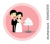 the bride and groom cutting the ... | Shutterstock .eps vector #556402555
