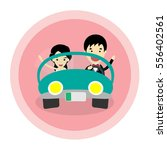 just married on car | Shutterstock .eps vector #556402561