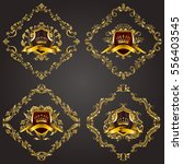 set of golden royal shields... | Shutterstock .eps vector #556403545