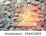 wood text cash flow on coins... | Shutterstock . vector #556422895