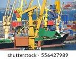 bulk cargo ship under port... | Shutterstock . vector #556427989