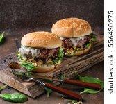 Two Hamburgers With Beef Burge...