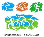 triathlon grunge stylized icons.... | Shutterstock .eps vector #556430605