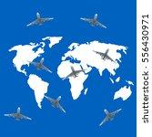 air travel around the world on... | Shutterstock .eps vector #556430971