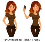 cute cartoon girl taking selfie ... | Shutterstock .eps vector #556447057