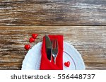 st valentines day place setting ... | Shutterstock . vector #556448737