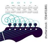 a 2017 calendar with a guitar...   Shutterstock . vector #556451881