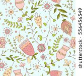 whimsical flowers seamless... | Shutterstock .eps vector #556456549