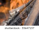 flame with embers outdoors photo | Shutterstock . vector #55647157