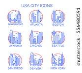 vector usa cities icon set | Shutterstock .eps vector #556480591