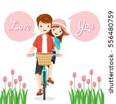 man and woman on bicycle... | Shutterstock .eps vector #556480759