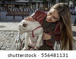 beautiful blonde girl with... | Shutterstock . vector #556481131