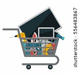 shopping cart with electronics... | Shutterstock .eps vector #556483867