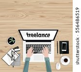 freelance.desktop with with... | Shutterstock .eps vector #556486519