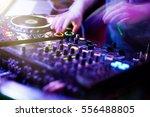 Dj Playing Music At Mixer...