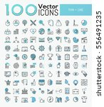 big set of 100 modern icons in... | Shutterstock .eps vector #556491235