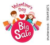 valentine's day big sale banner ... | Shutterstock .eps vector #556491871