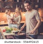 cute little girl and her...   Shutterstock . vector #556492615