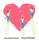 three males with brushes... | Shutterstock .eps vector #556499089