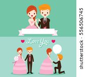 bride and groom with various... | Shutterstock .eps vector #556506745