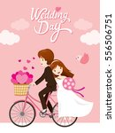 wedding invitation card  bride  ... | Shutterstock .eps vector #556506751
