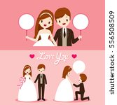 bride and groom with various... | Shutterstock .eps vector #556508509