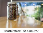 transparent glass coffee jar... | Shutterstock . vector #556508797