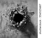 dark explosion hole of concrete ...   Shutterstock . vector #556525687