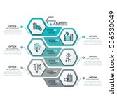 Creative infographic design template with 6 hexagonal elements, arrows and text boxes. Six steps of business project development concept. Vector illustration for brochure, report, corporate website. | Shutterstock vector #556530049