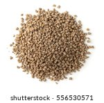 Small photo of Top view of compound feed pellets isolated on white
