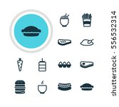illustration of 12 dish icons.... | Shutterstock . vector #556532314