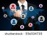 businessman pressing social...   Shutterstock . vector #556534735
