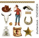 cowboy cartoon character and...   Shutterstock .eps vector #556535854