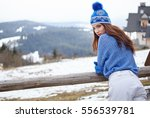 sexy snowboarder woman outdoors.... | Shutterstock . vector #556539781