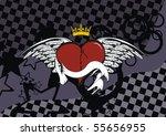 winged heart background in... | Shutterstock .eps vector #55656955