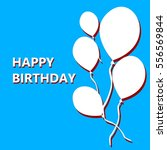 blue postcard happy birthday | Shutterstock .eps vector #556569844