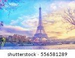 eiffel tower at sunset in paris ... | Shutterstock . vector #556581289