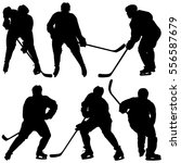set of silhouettes hockey... | Shutterstock .eps vector #556587679