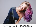 colored hairstyle. portrait of... | Shutterstock . vector #556587814