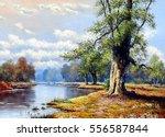 fine art  landscape  river  oil ...   Shutterstock . vector #556587844