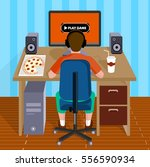 child plays video games on the... | Shutterstock .eps vector #556590934